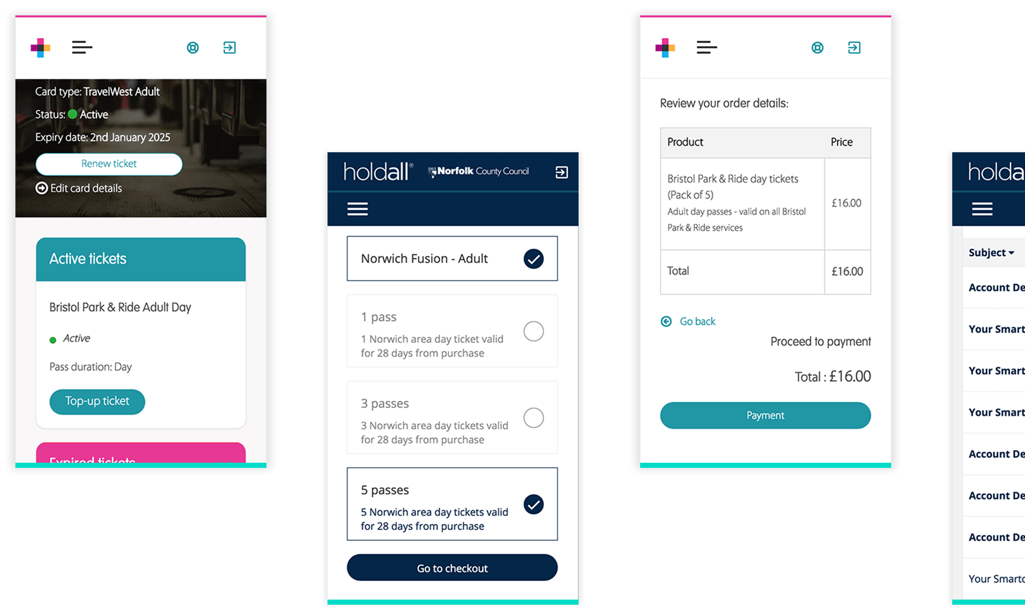 Screen shots from smart ticketing portals, showing active tickets, buying a product, order review and messages.
